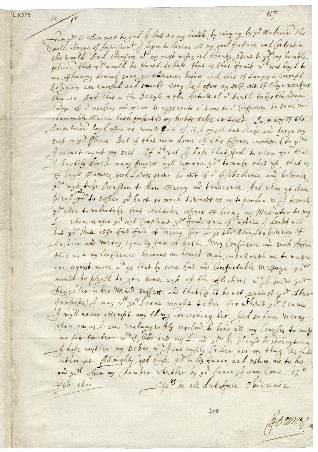 Autograph letter signed from John Donne to Sir George More [manuscript], 1601/1602 February 13.