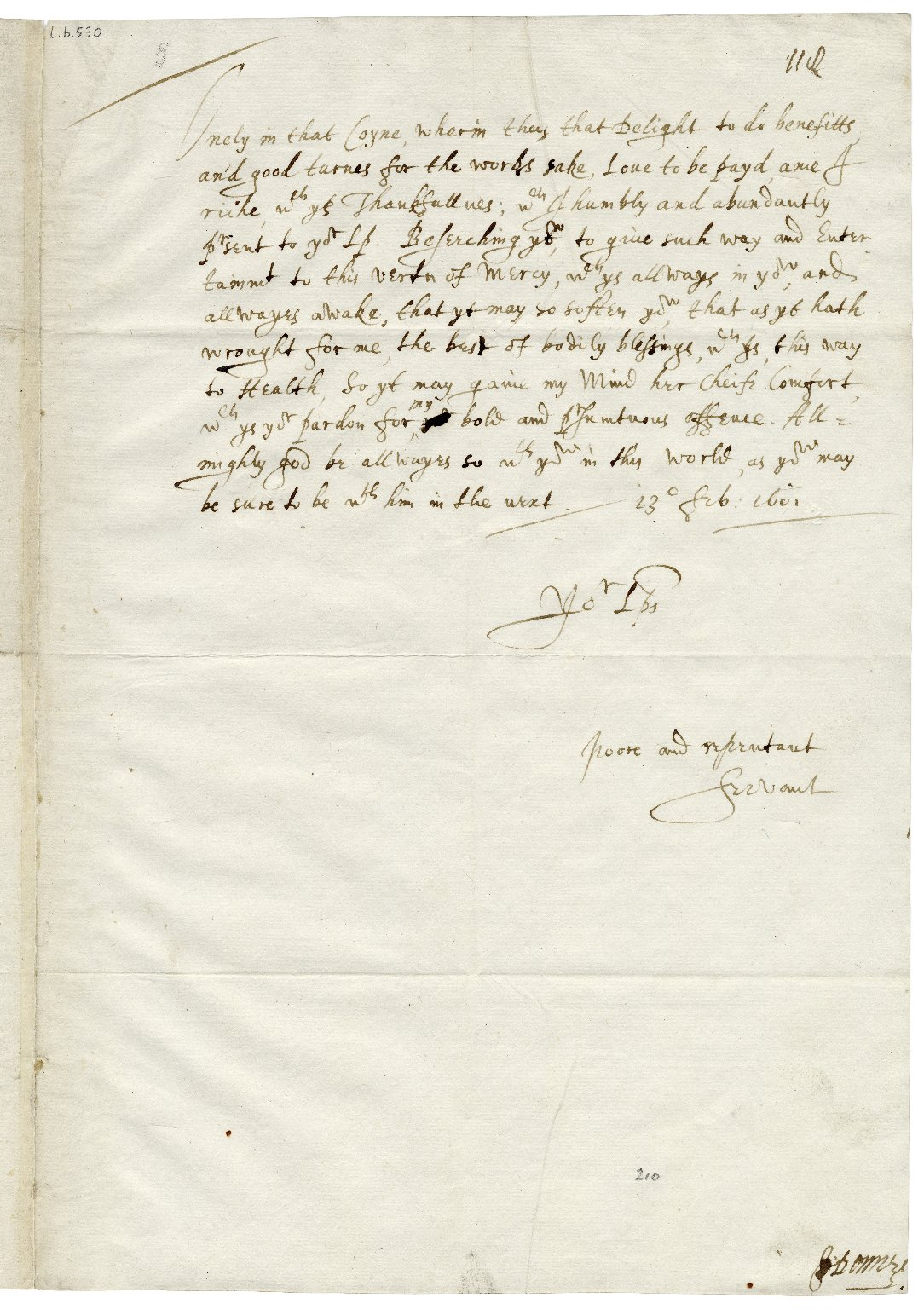 Autograph letter signed from John Donne to Sir Thomas Egerton [manuscript], 1601/1602 February 13.