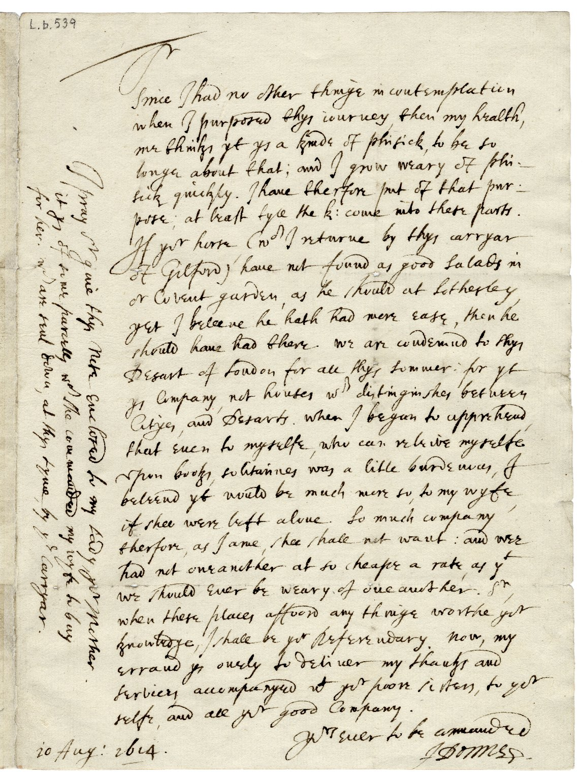 Autograph letter signed from John Donne, London, to Sir Robert More, Loseley [manuscript], 1614 August 10.