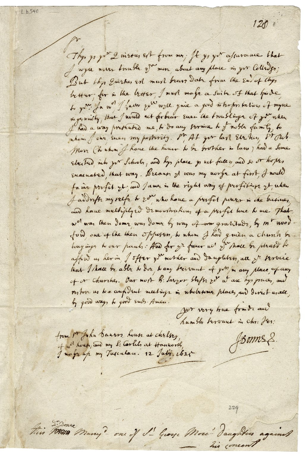 Autograph letter signed from John Donne to Sir Henry Wotton [manuscript], 1625 July 12.