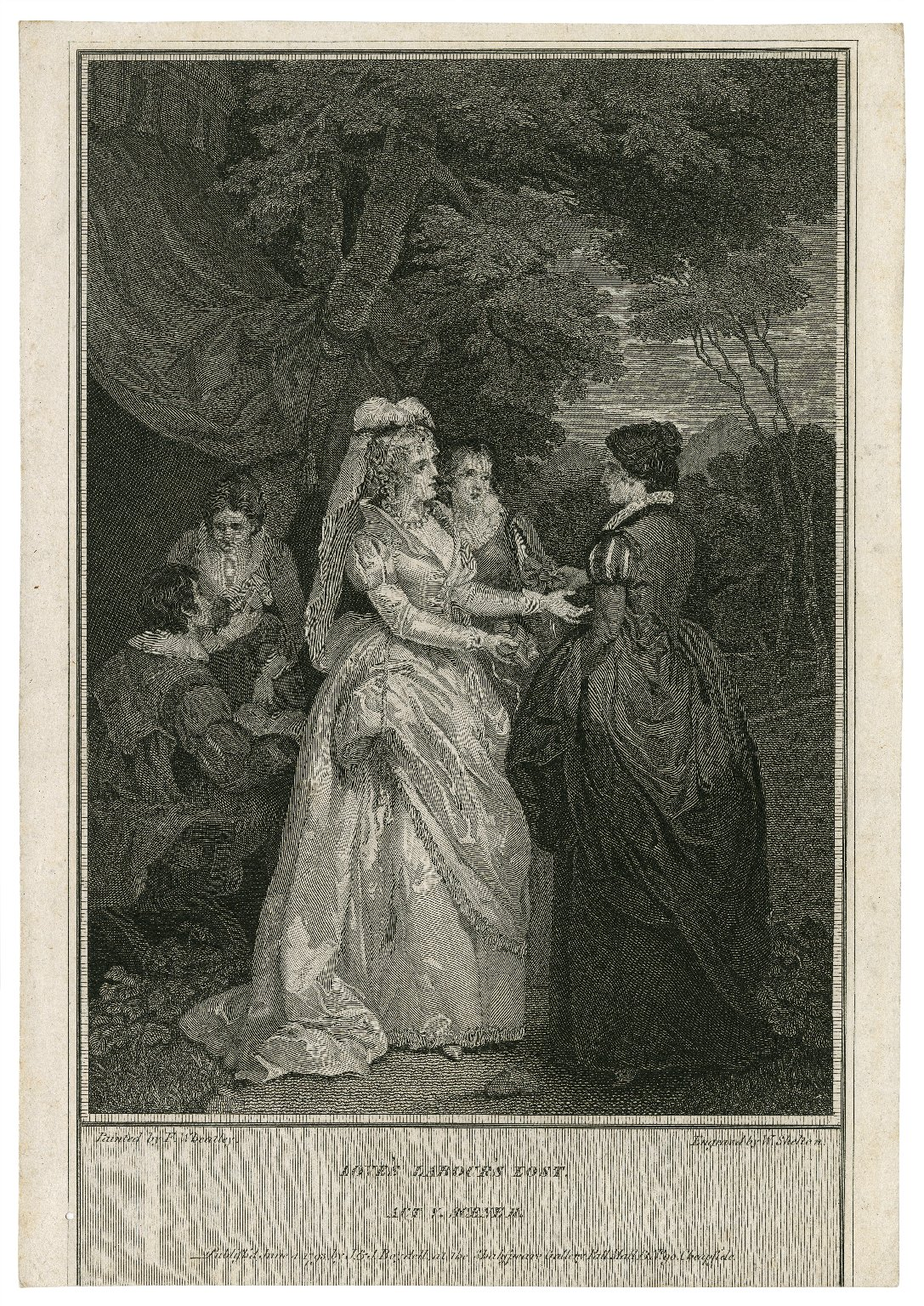 Love's labour's lost, act V, scene II [graphic] / painted by F. Wheatley ; engraved by W. Skelton.