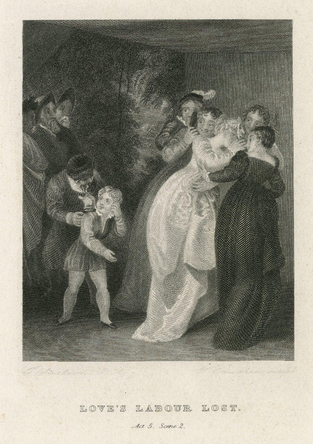 Love's labour lost, act 5, scene 2 [graphic] / T. Stothard R.A. delt. ; W. Chevalier sculps.