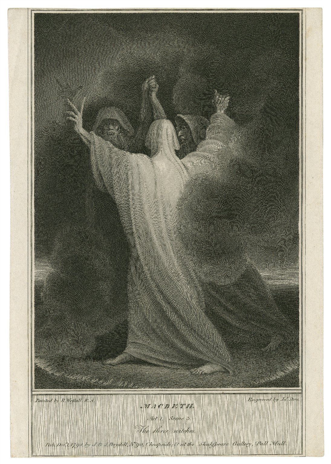Macbeth, act 1, scene 3, the three witches [graphic] / painted by R. Westall, R.A. ; engraved by Jas. Stow.
