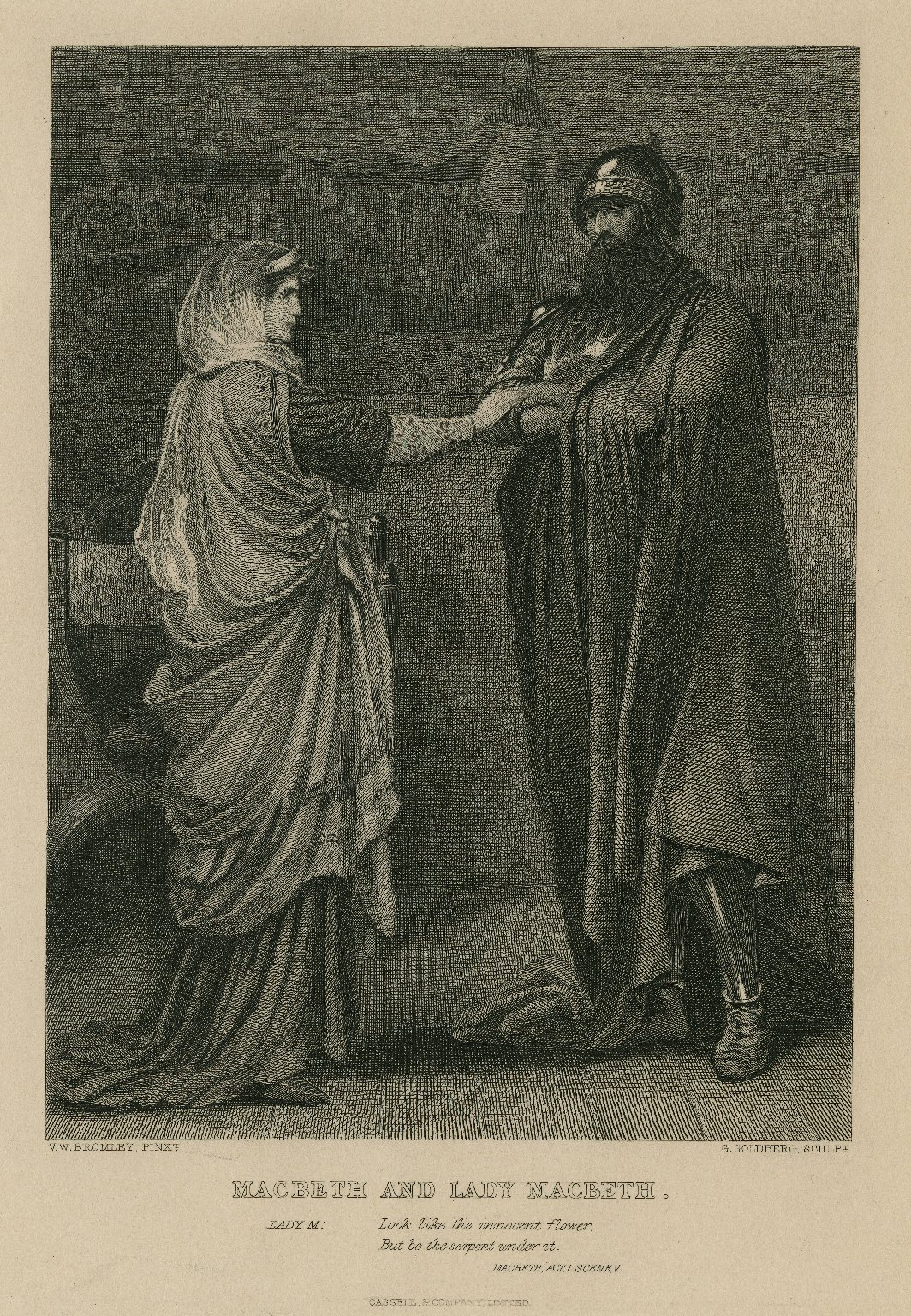 Macbeth and Lady Macbeth... Look like the innocent flower, but be the serpent under it, Macbeth, act 1, scene V [graphic] / V.W. Bromley, pinxt ; G. Goldberg, sculp.