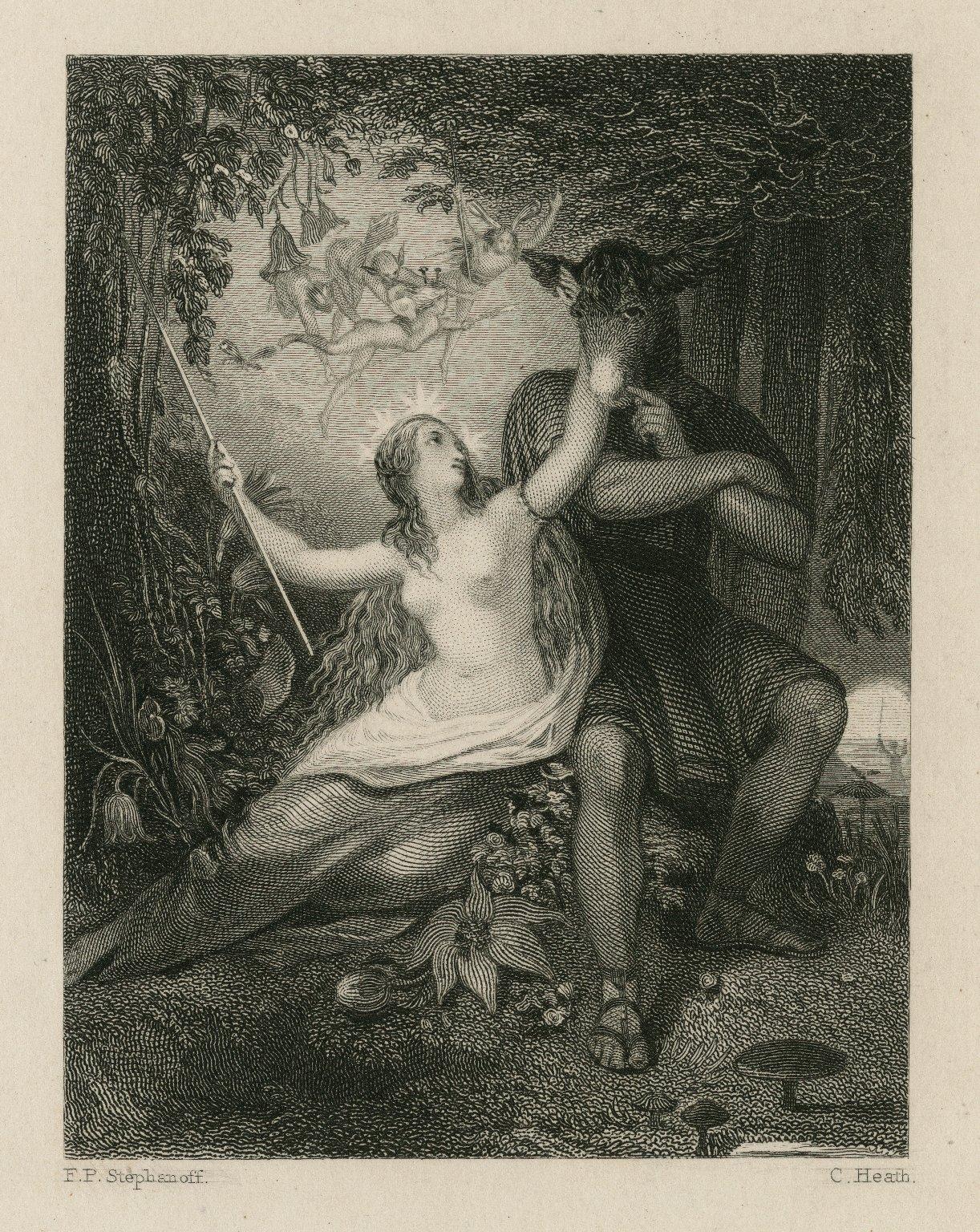 Midsummer-night's dream, Titania: While I thy amiable cheeks do coy, act IV, sc. 1 [graphic] / F.P. Stephanoff ; C. Heath.