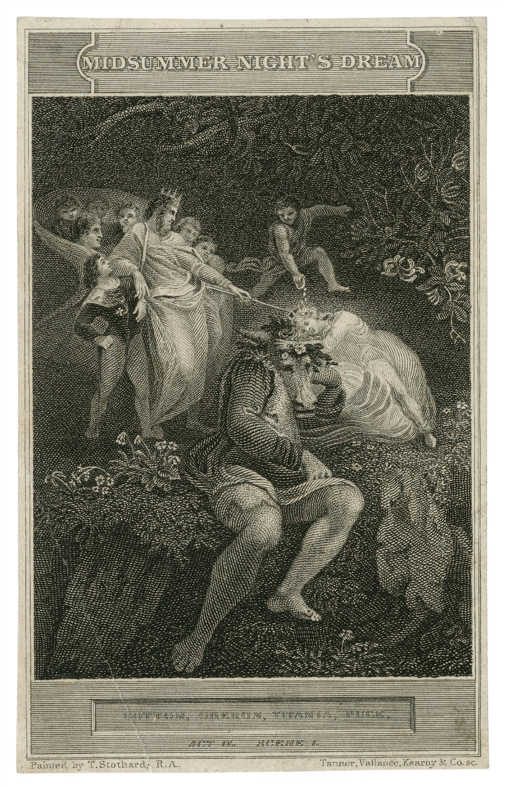 Midsummer night's dream, Obe.: Now, my Titania, wake you, my sweet queen, act 4, scene 1 [graphic] / [Thomas Stothard] ; Tanner, Vallance, Kearny & Co., sc.