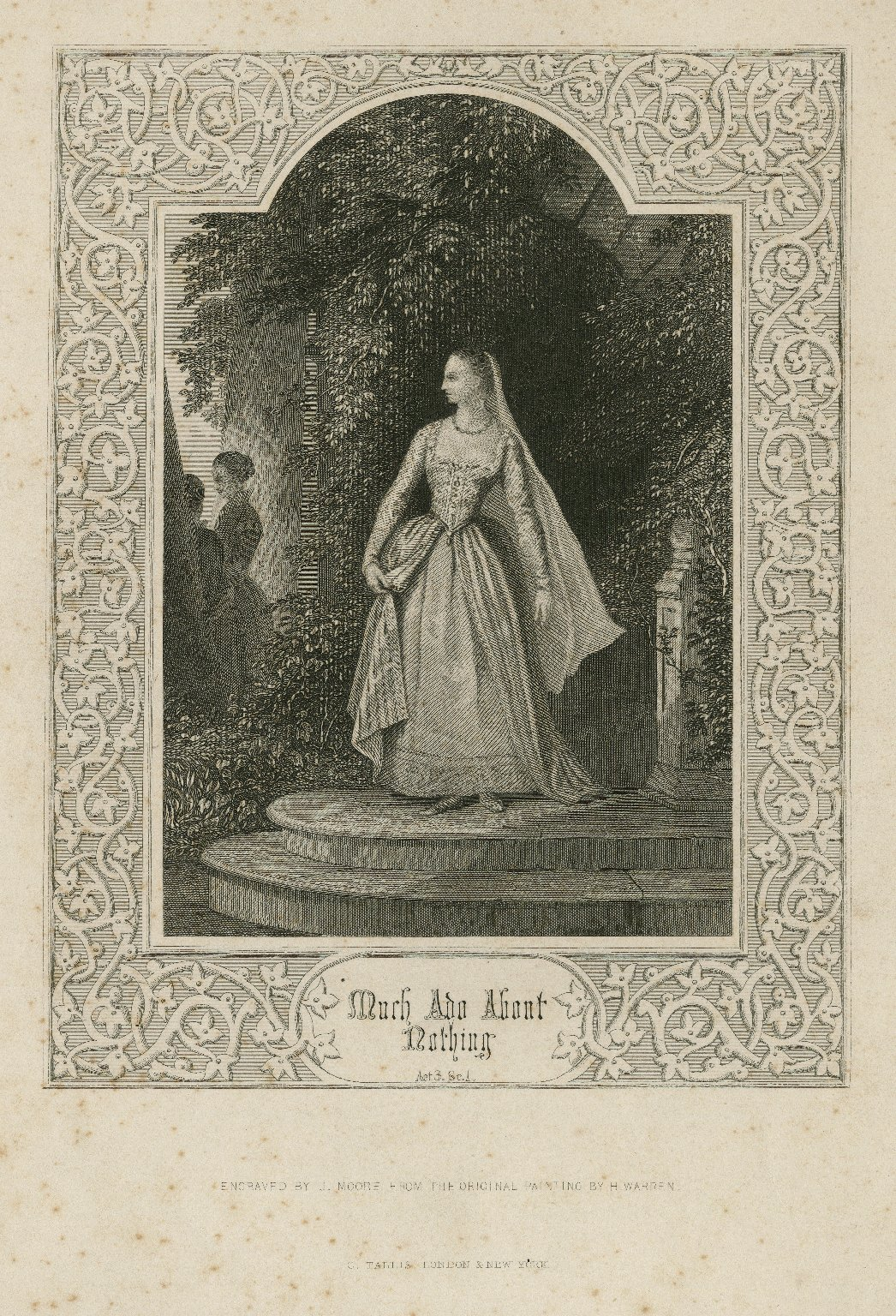 Much ado about nothing, act 3, sc. 1 [graphic] / engraved by J. Moore from the original painting by H. Warren.