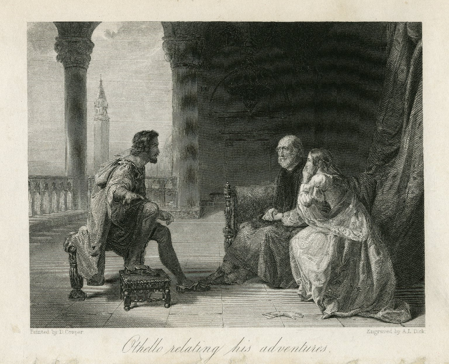 Othello relating his adventures [Othello, act I, sc. 3] [graphic] / painted by D. Cowper ; engraved by A.L. Dick.