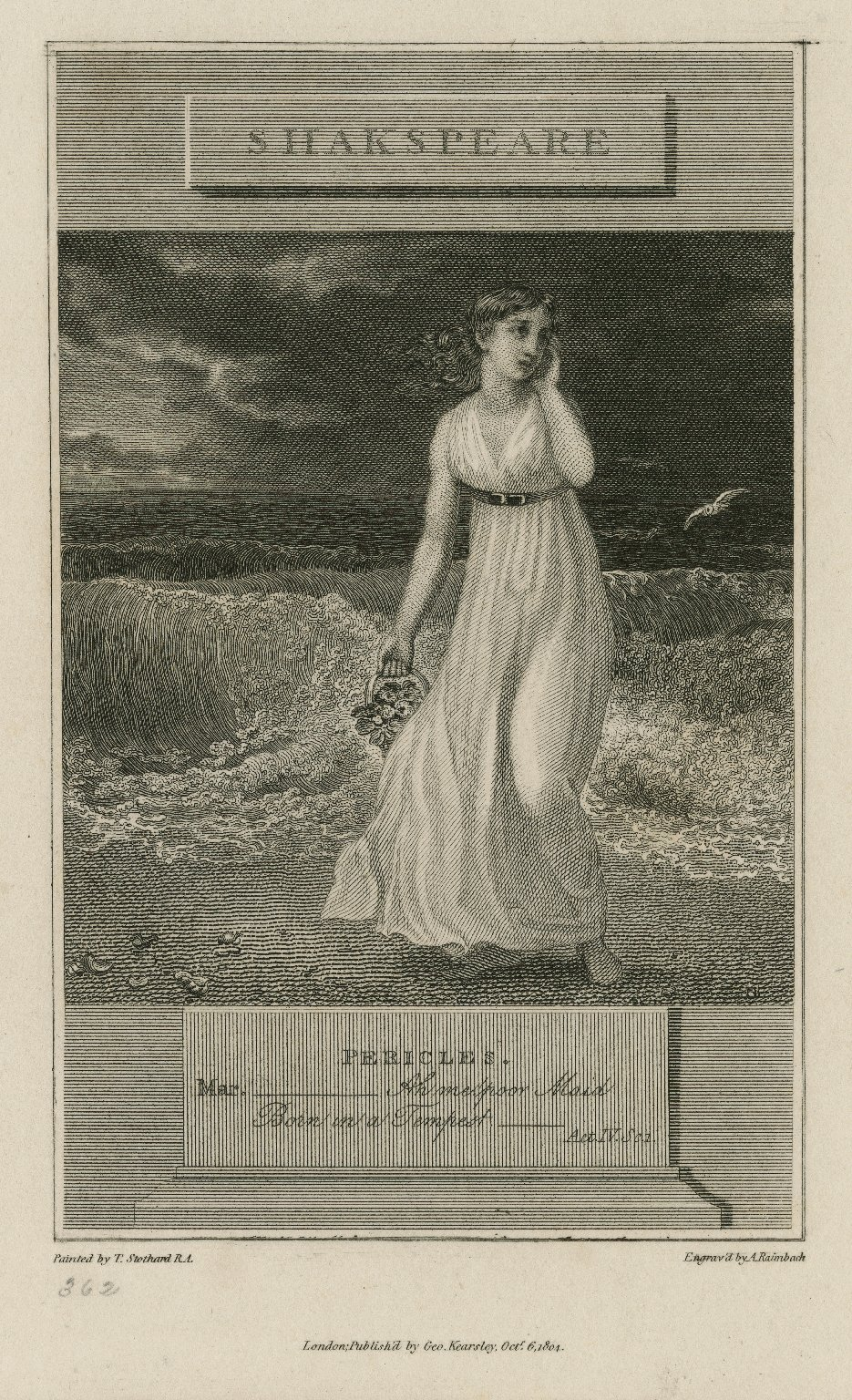 Pericles, Mar.--Ah me poor Maid, born in a tempest--act IV, sc. 1 [graphic] / painted by T. Stothard R.A. ; engraved by A. Raimbach.