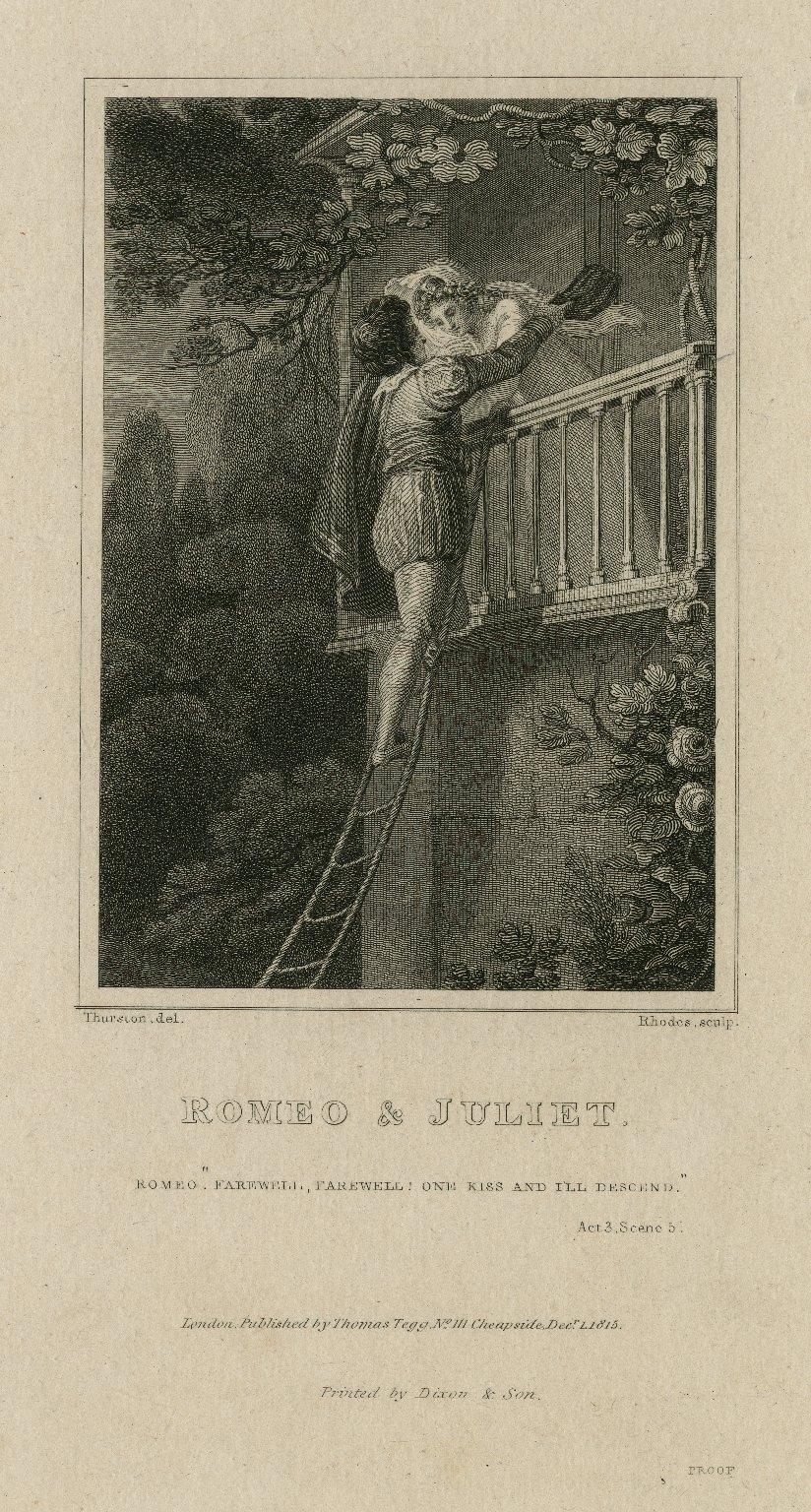 """Romeo and Juliet, Romeo: """"Farewell, ..."""" ; act 3, scene 5 [graphic] / Thurston, del. ; Rhodes sculp."""