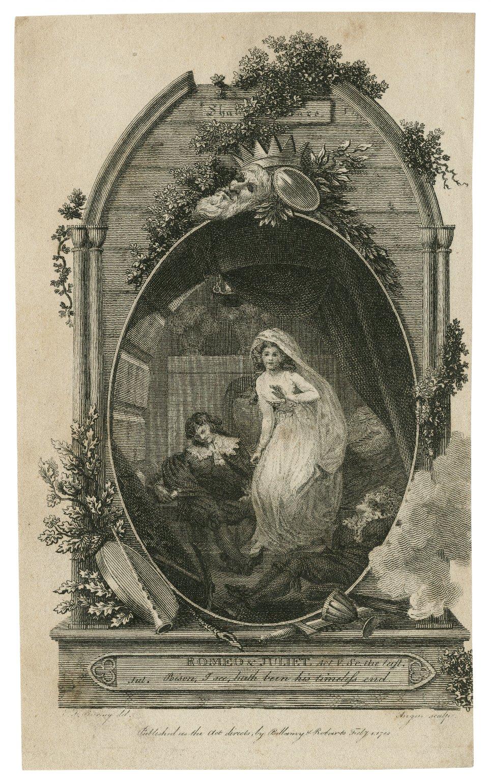 Romeo & Juliet, act V, scene the last, [i.e. Scene 3] Jul. poison, I see, ... [graphic] / E.F. Burney, del. ; Angus, sculp.