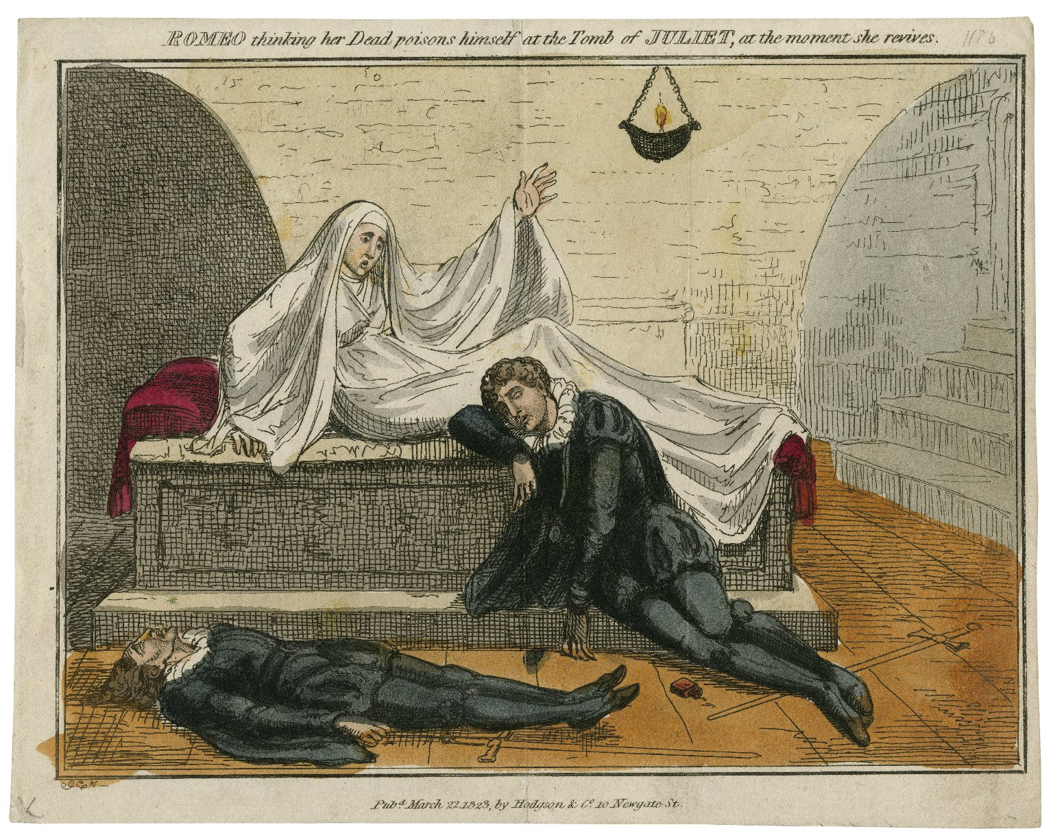 Romeo thinking her dead poisons himself ... [Romeo and Juliet, act V, scene 3] [graphic] / GCK.