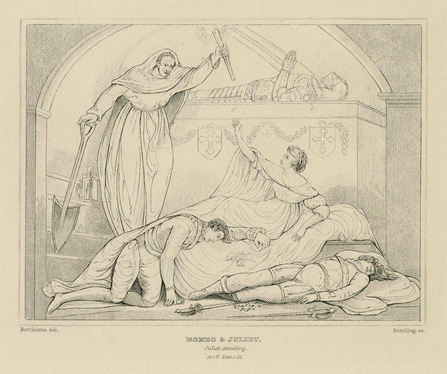 Romeo & Juliet, Juliet awaking, act V, scene III [graphic] / Northcote, del. ; Starling, sc.
