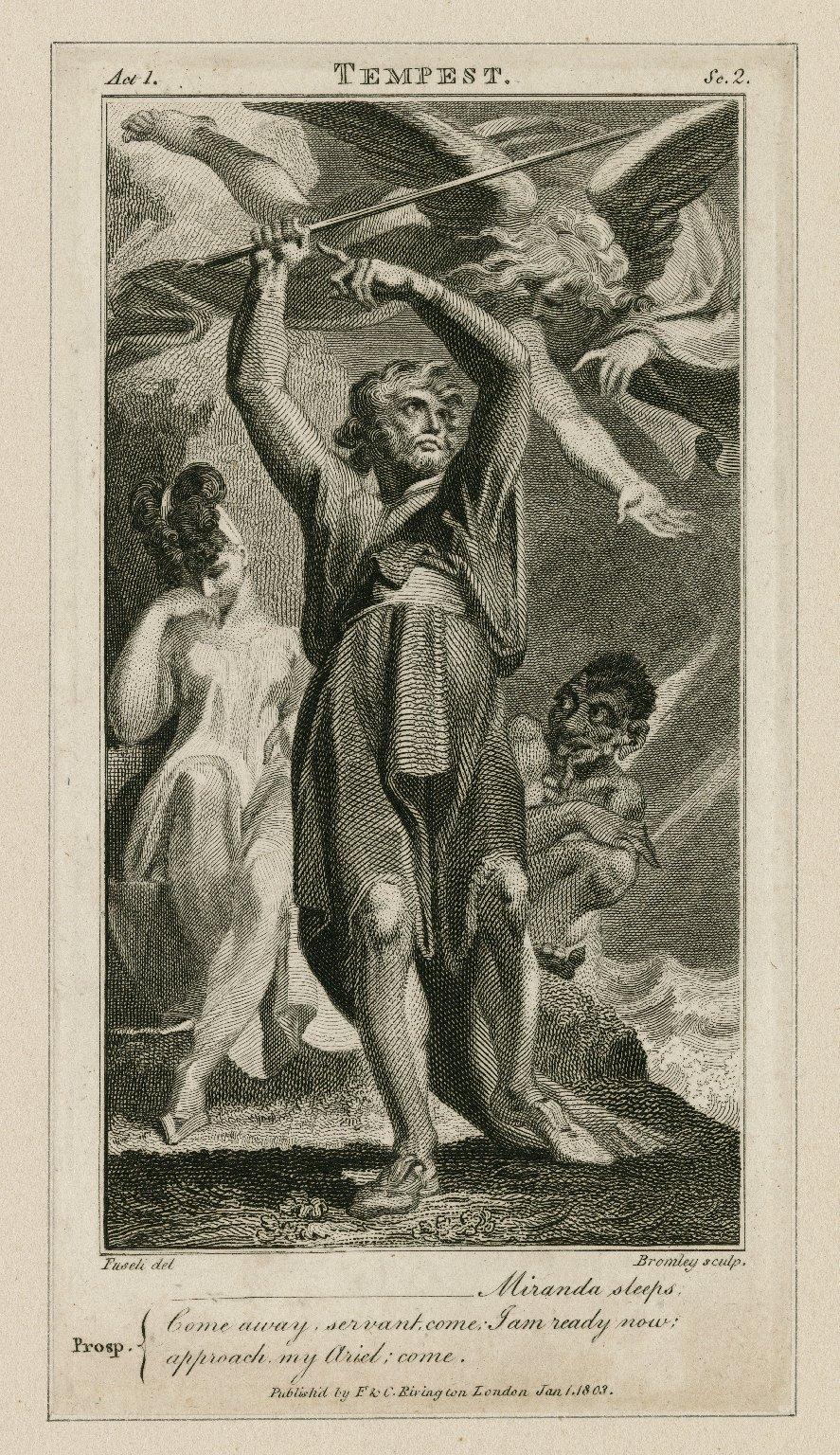 Tempest, act 1, sc. 2, Prosp.: Miranda sleeps; come away, servant come; ... [graphic] / [Henry] Fuseli, del. ; [William] Bromley, sculp.