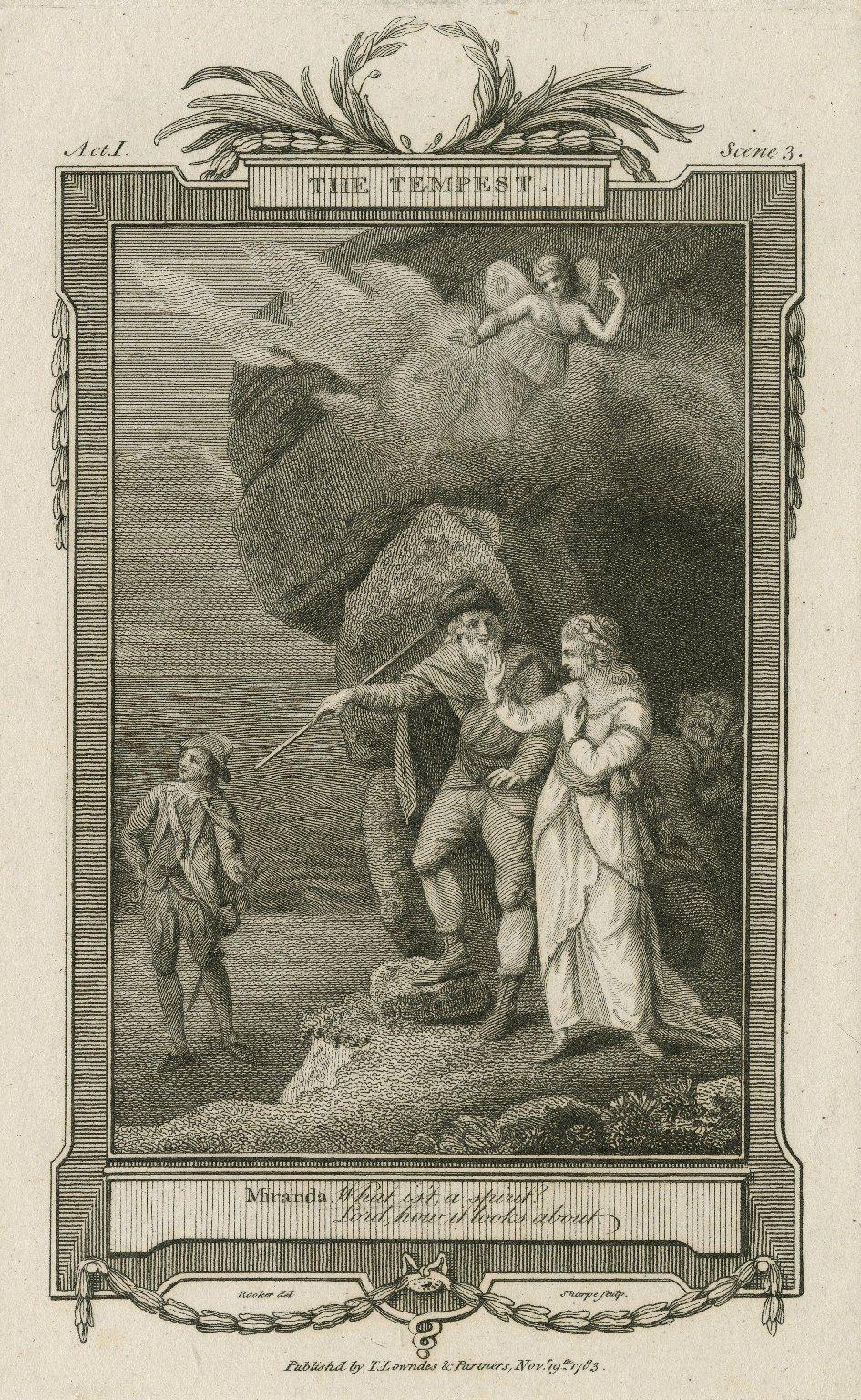 The tempest, act I, scene 3 [i.e. scene 2], Miranda: What is't, a spirit? ... [graphic] / Rooker, del. ; Sharp, sculp.