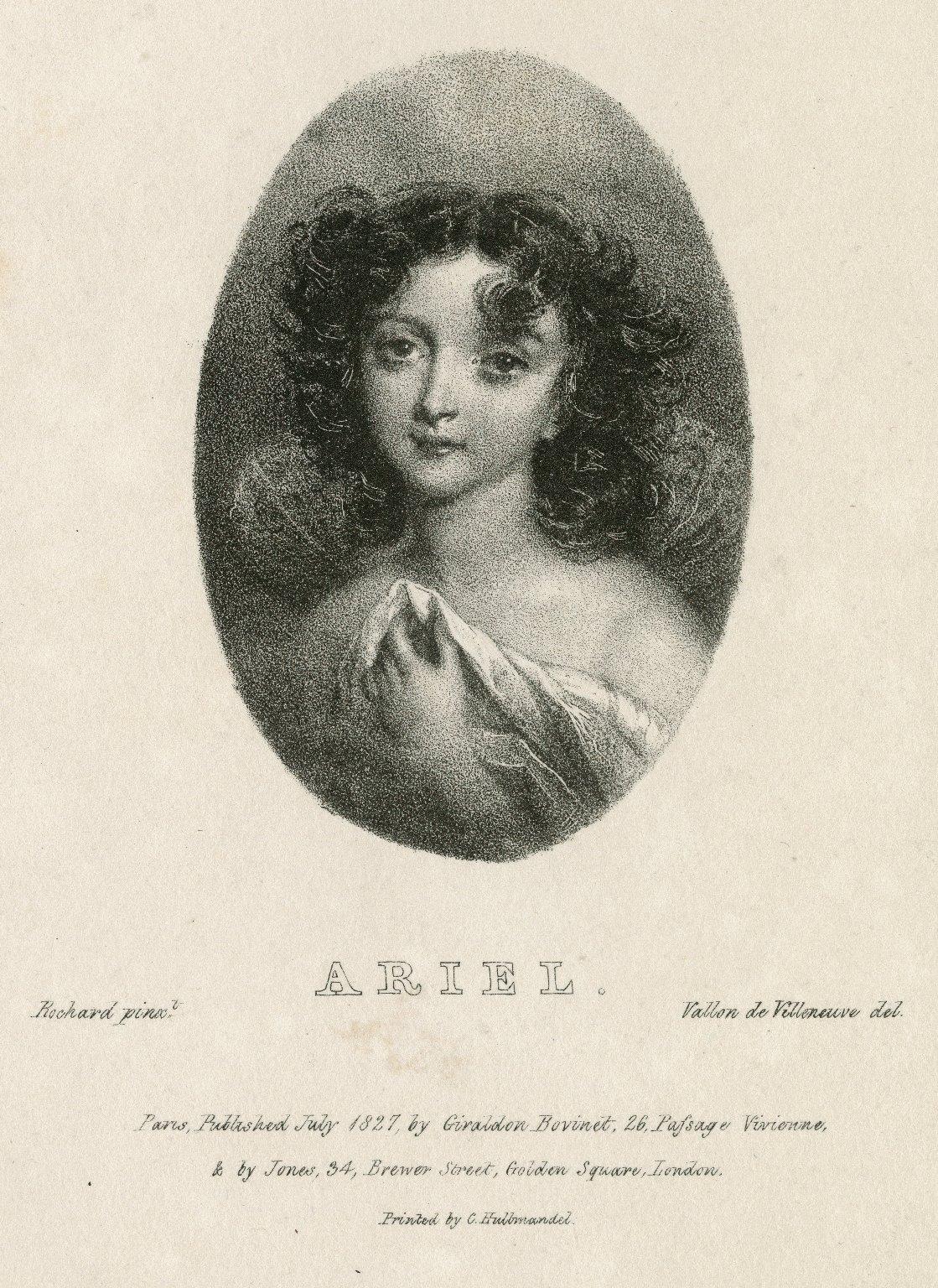 Ariel [graphic] : [character in William Shakespeare, The tempest] / Rochard, pinxt. ; Vallou de Villeneuve, del.