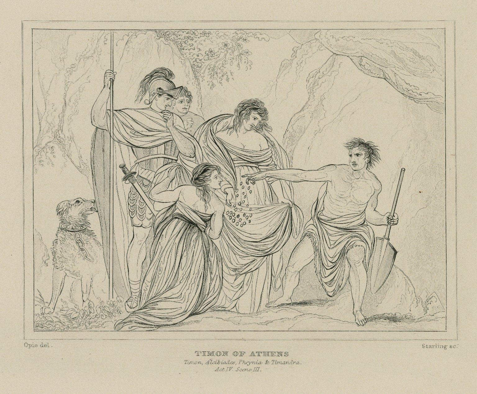 Timon of Athens, Timon, Alcibiades, Phrynia & Timandra, act IV, scene III [graphic] / Opie, del. ; Starling, sc.