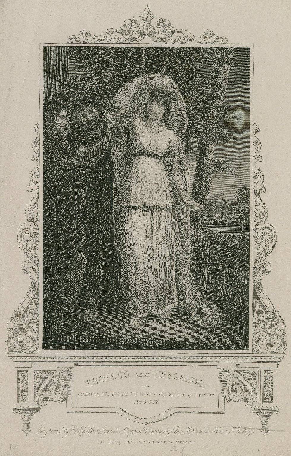 """Troilus and Cressida, Pandarus: """"Come, draw this curtain ..."""" act 3, sc. 2 ... [graphic] / engraved by P. Lightfoot from the original painting by Opie."""