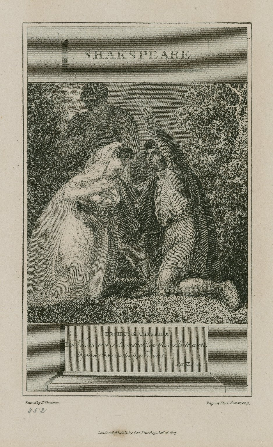 Troilus & Cressida, Tro.: True swains in love shall in the world to come approve their truths by Troilus, act 3, sc. 2 [graphic] / drawn by J. Thurston ; engraved by C. Armstrong.