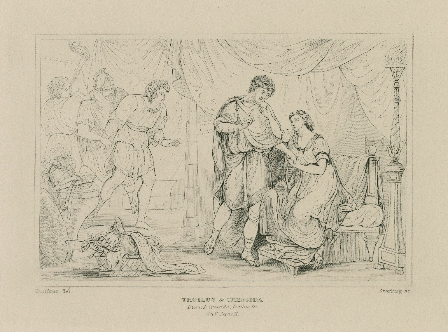 """Troilus & Cressida, Ulys.: """"You shake, my Lord, at something, will you go? You will break out,"""" act V, sc. 2 [graphic] / painted by Angelica Kauffman ; Starling sc."""