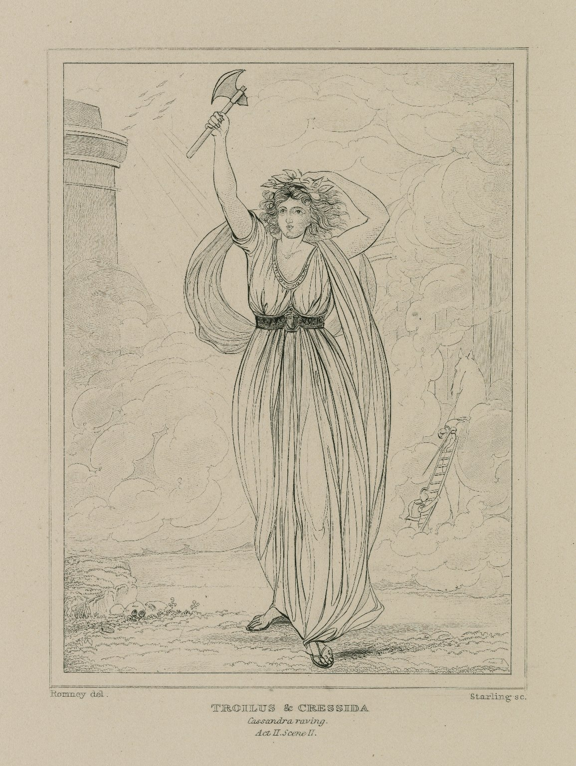 Troilus and Cressida ... Cassandra raving, act 2, sc. 2 [graphic] / painted by George Romney ; Starling, sculp.