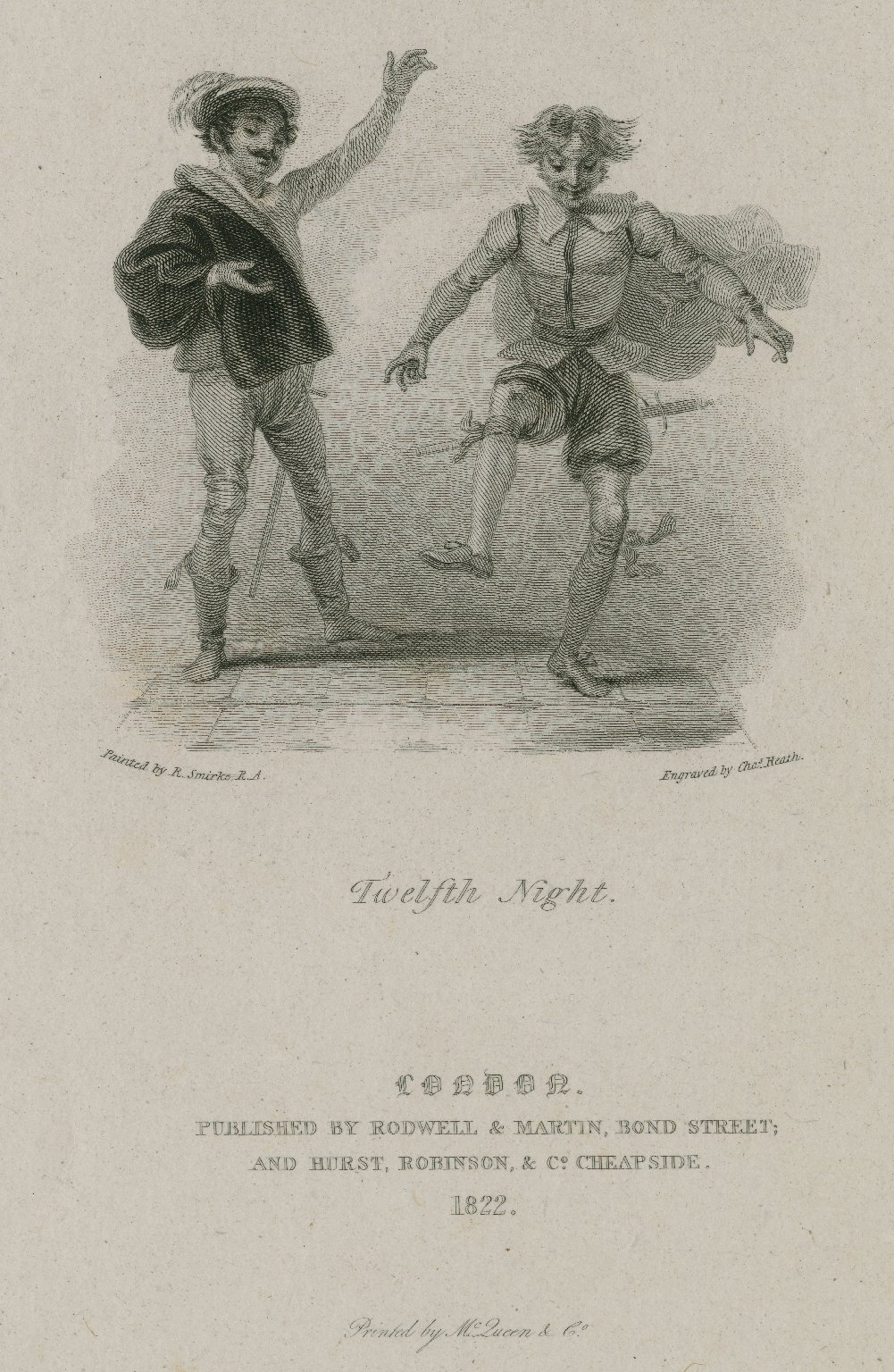 Twelfth night, [act I, sc. 3] [graphic] / painted by R. Smirke, R.A. ; engraved by Chas. Heath.