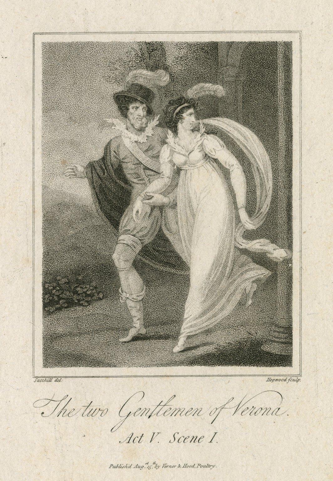 The two gentlemen of Verona, act V, scene I [graphic] / Satchwell del. ; Hopwood sculp.