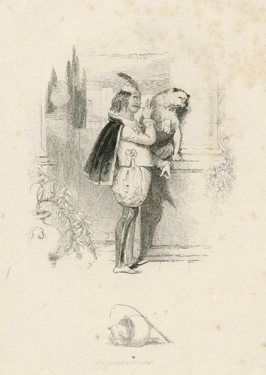 [Launce and his dog, in Two gentlemen of Verona, act 5, sc. 2] [graphic] / [Joseph Kenny Meadows].