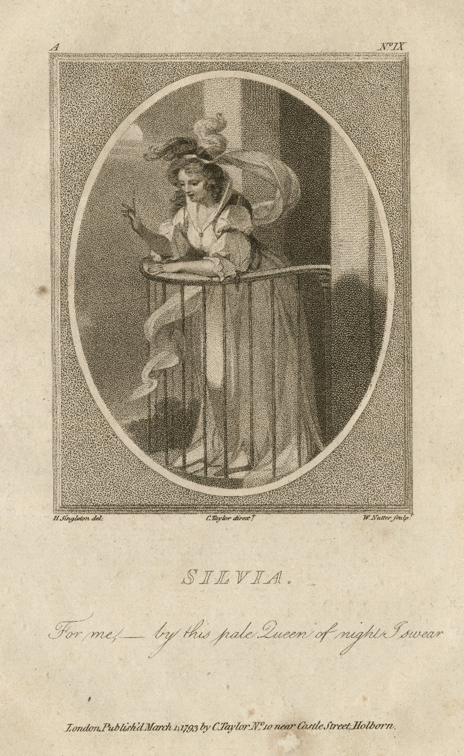 Silvia [character in Two gentlemen of Verona] [graphic] / H. Singleton del. ; C. Taylor dirext. ; W. Nutter sculpt.