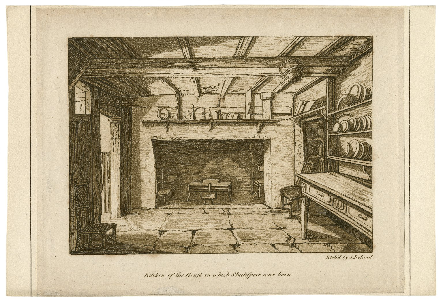 Kitchen of the house in which Shakspere was born [graphic] / etch'd by S. Ireland.