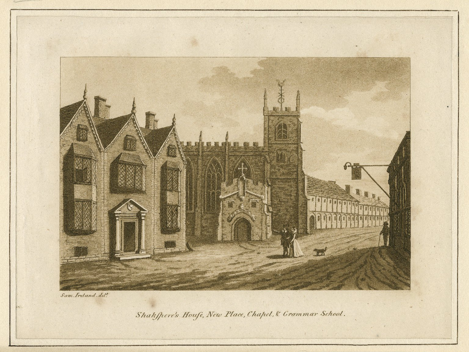 Shakspere's house, New Place, chapel, & grammar school [graphic] / Sam. Ireland delt.