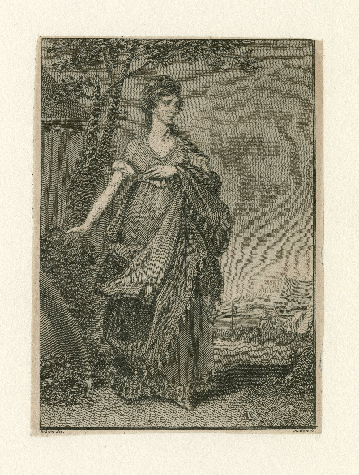 Mrs. Townsend as Christina [graphic] : Chr.: Oh, I fear, the war is now at work! / Roberts, del. ; Audinet, sc.