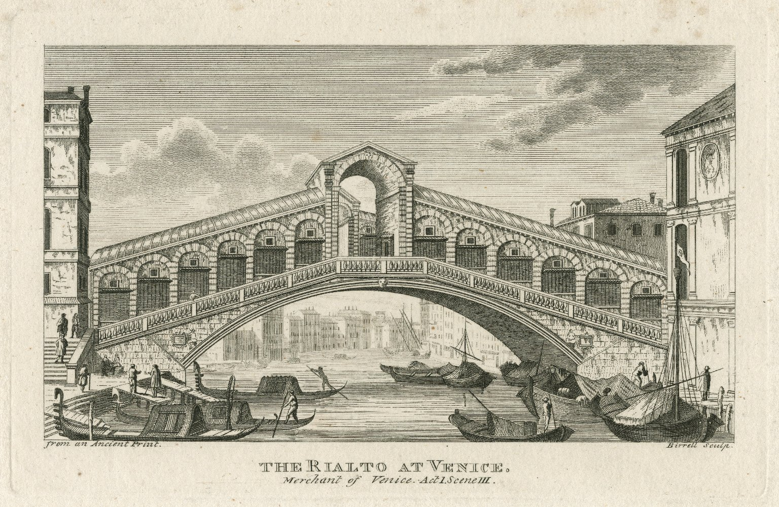The Rialto at Venice, Merchant of Venice, act I, scene III [graphic] / from an ancient print ; Birrell sculp.