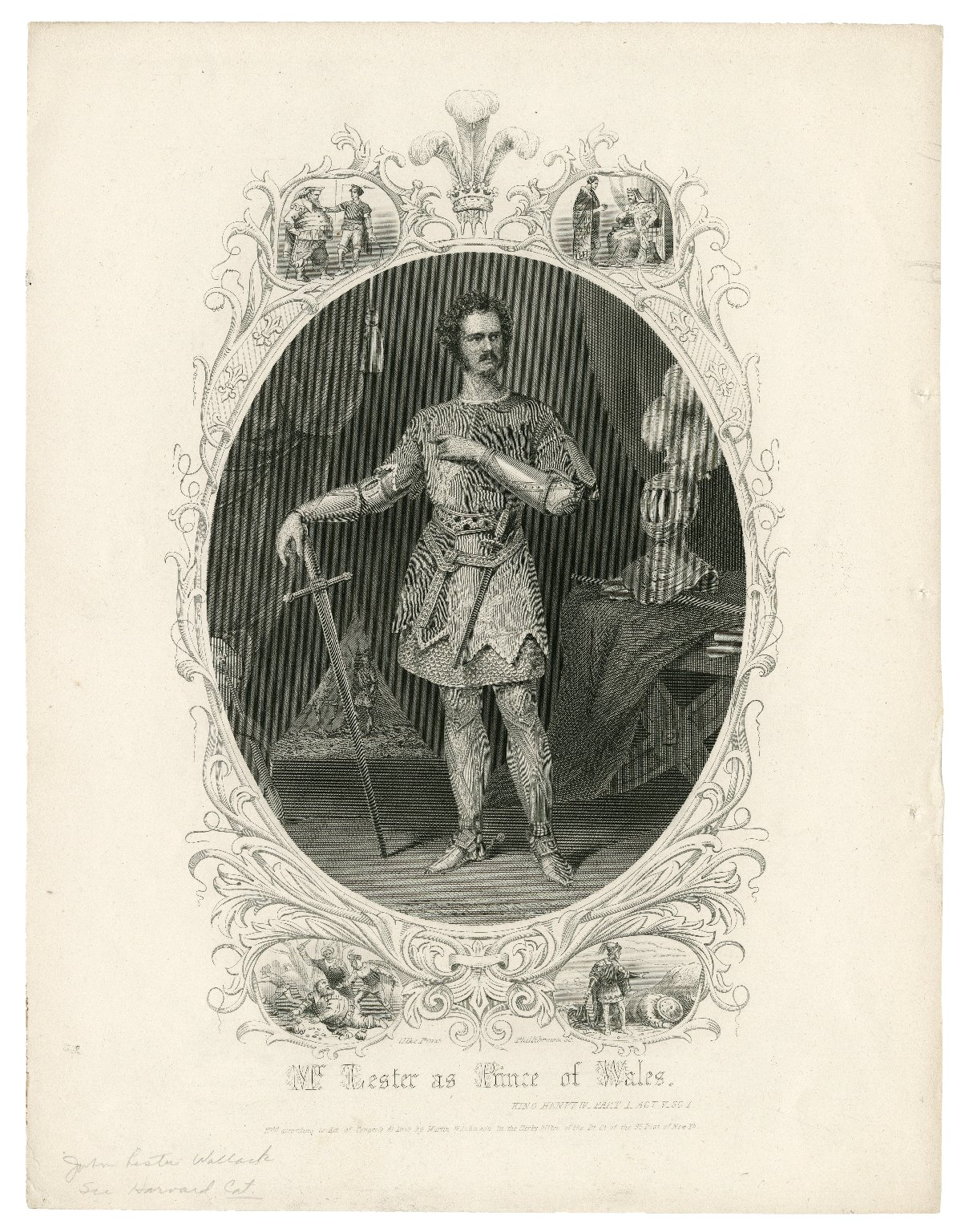 Mr. Lester [Wallack] as Prince of Wales [in Shakespeare's] King Henry IV, part 1, act V, sc. 1 [graphic] / Ulke, pinxt. ; Phillibrown, sc.