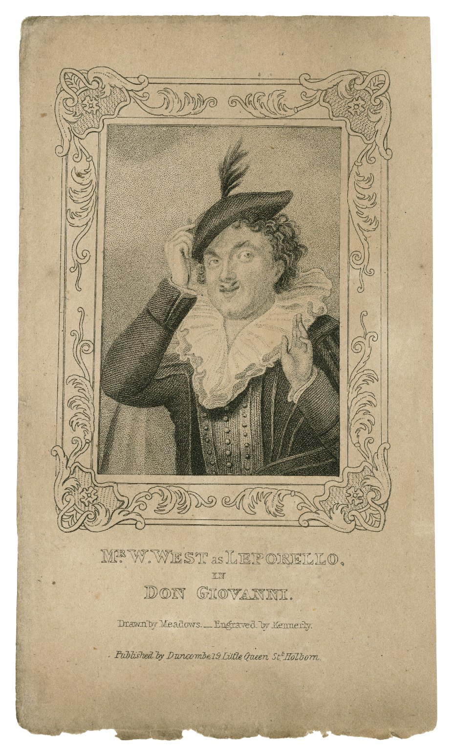Mr. W. West as Leporello in Don Giovanni [by Mozart] [graphic] / drawn by Meadows ; engraved by Kennerly.