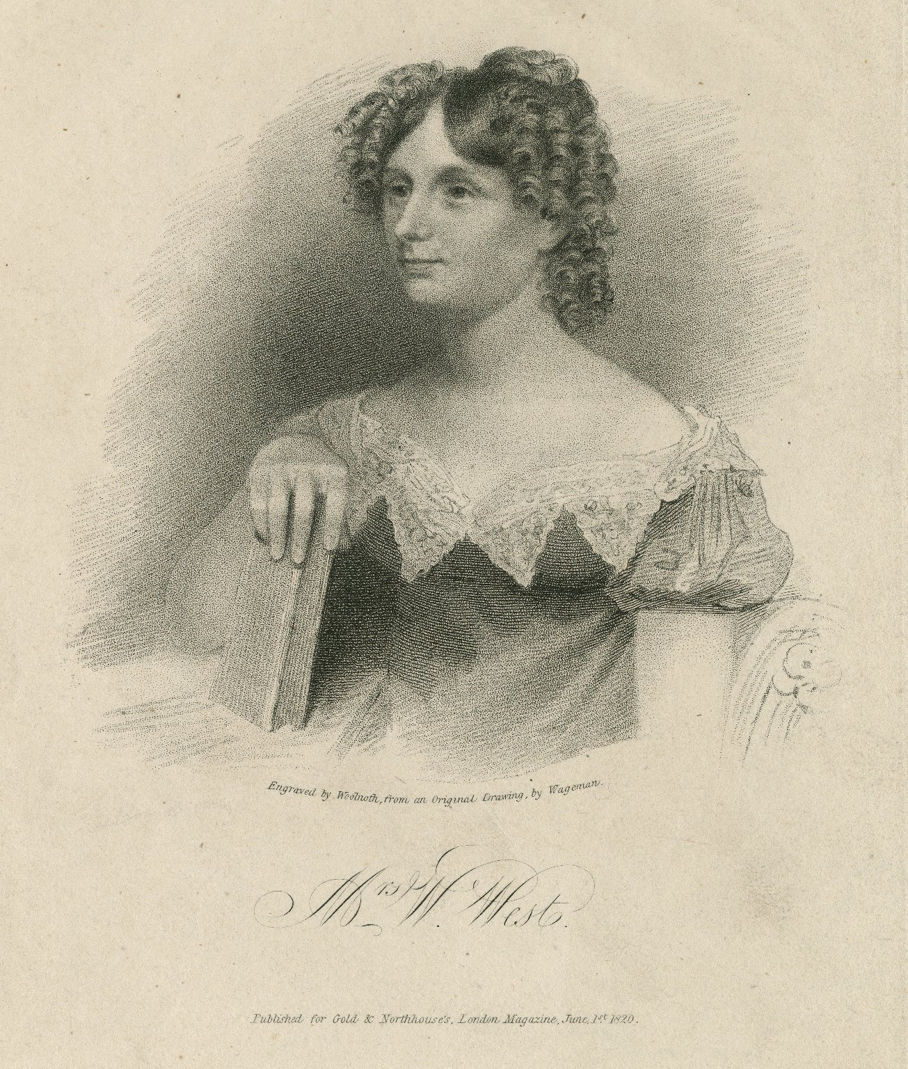 Mrs. W. West [graphic] / engraved by Woolnoth from an original drawing by Wageman.