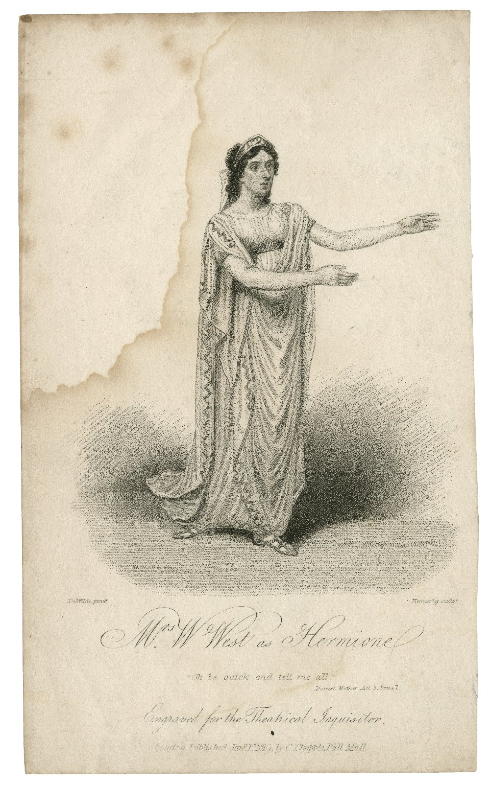 """Mrs. W. West as Hermione: """"Oh be quick ..."""": Distrest mother [by A. Philips] ... [graphic] / De Wilde, pinxt. ; Kennerley, sculpt."""