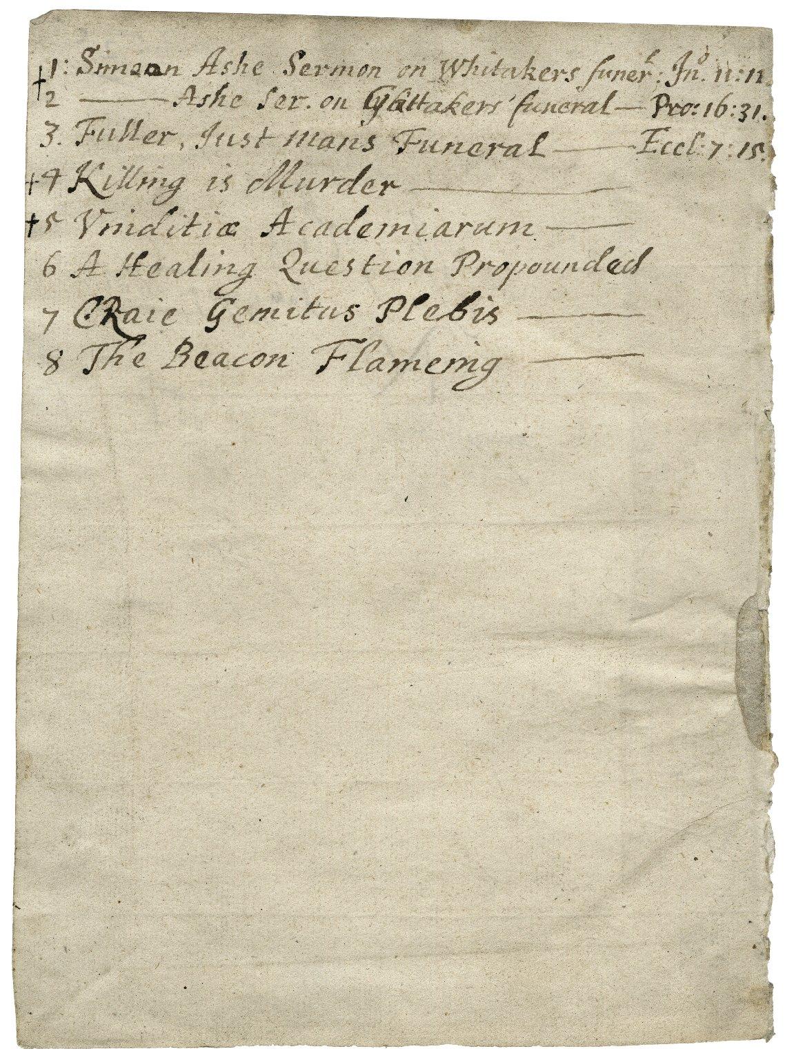 Bookbindings [manuscript], ca. 1650-1725.