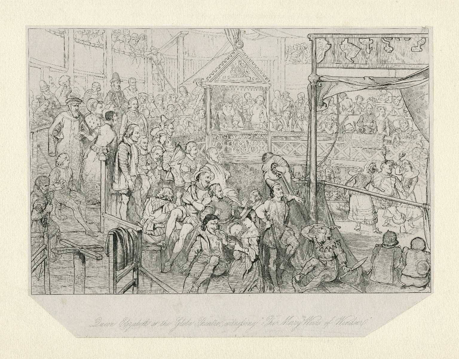 """Queen Elizabeth at the Globe Theatre witnessing """"The merry wives of Windsor"""" [graphic] / W.B.S. ; David Scott, f."""