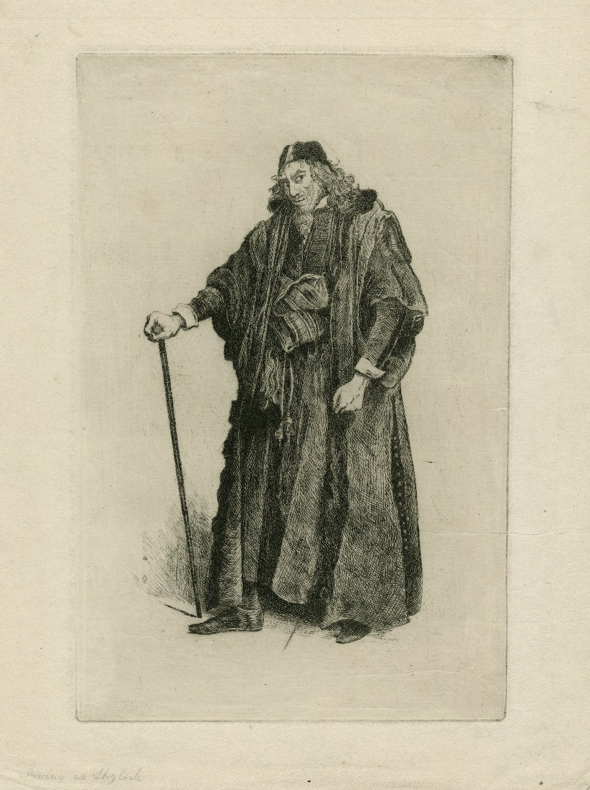 [Irving as Shylock in Shakespeare's Merchant of Venice] [graphic] / AB [sculp]