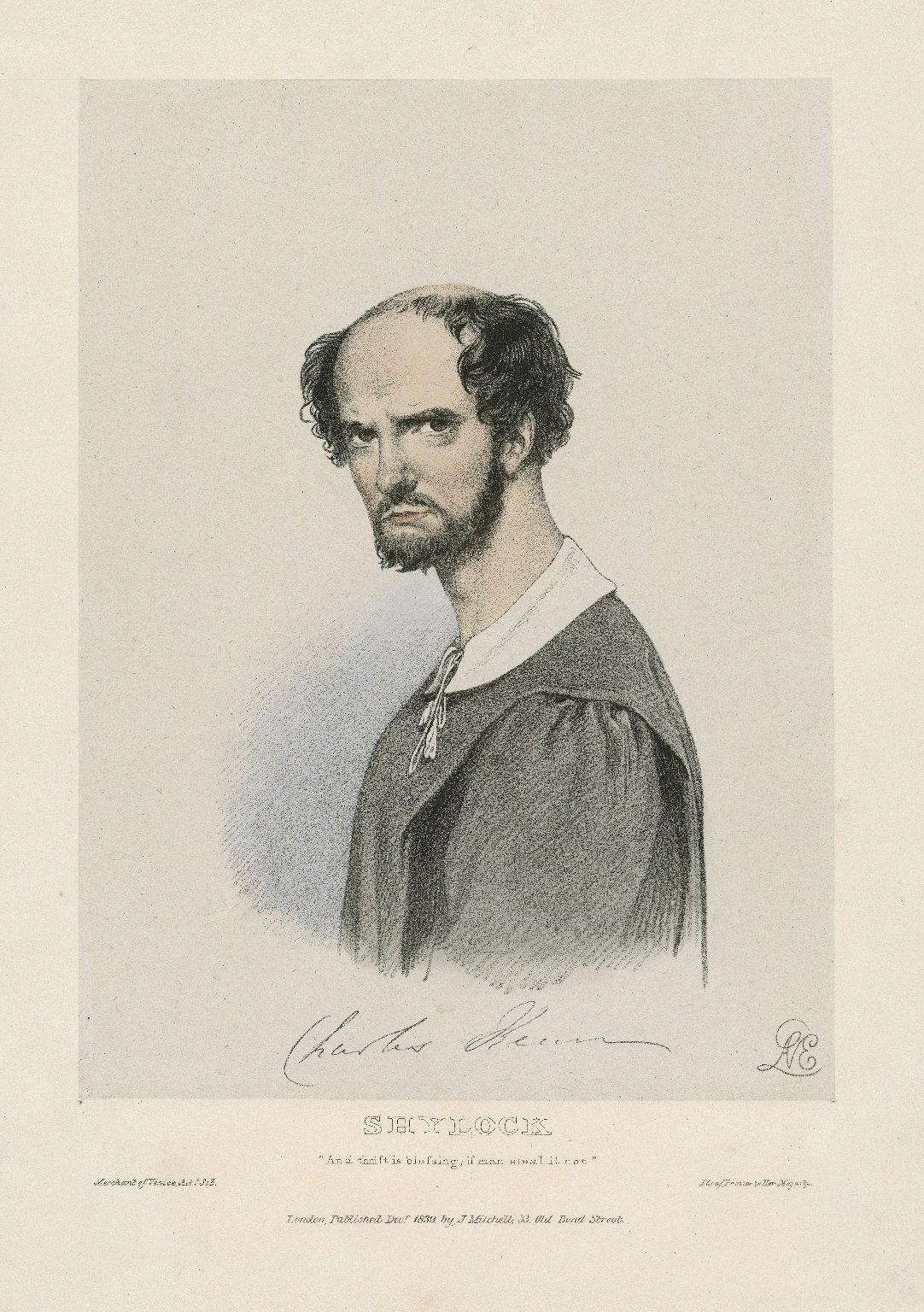 """Charles Kean [as] Shylock [in Shakespeare's] Merchant of Venice """"And thrift is blessing ..."""" act 1, sc. 3 [graphic] / Lane."""