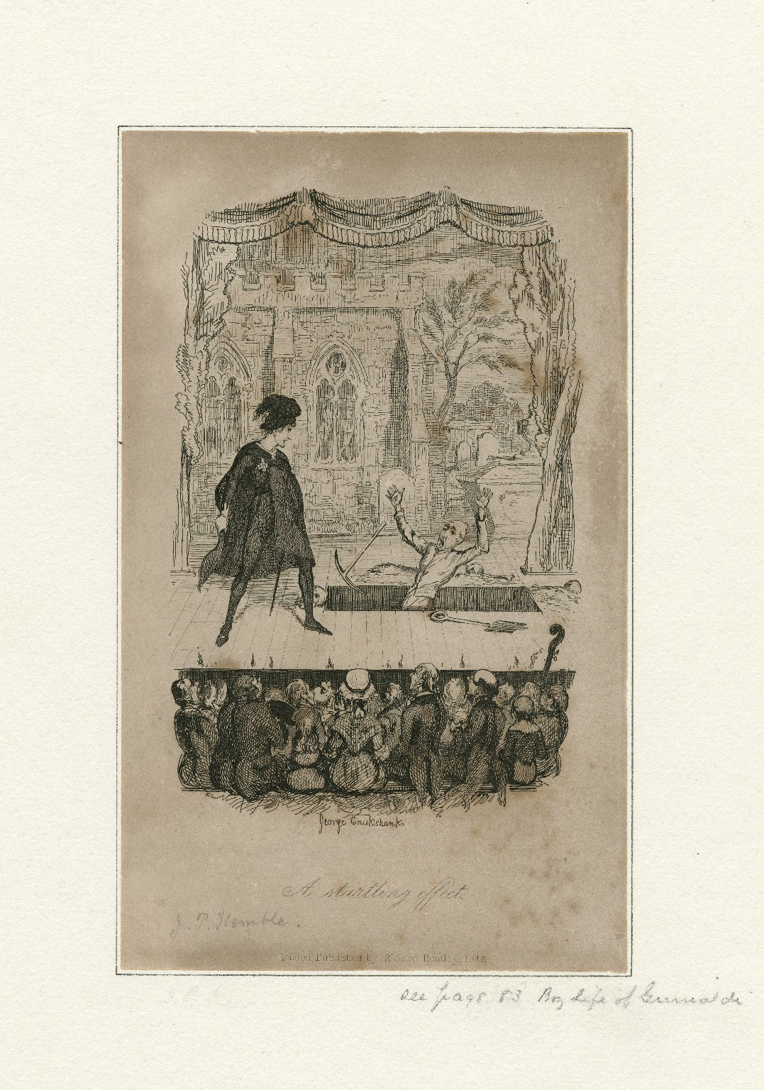 A startling effect [caricature of J.P. Kemble as Hamlet, in act V, scene 1] [graphic] / George Cruikshank.