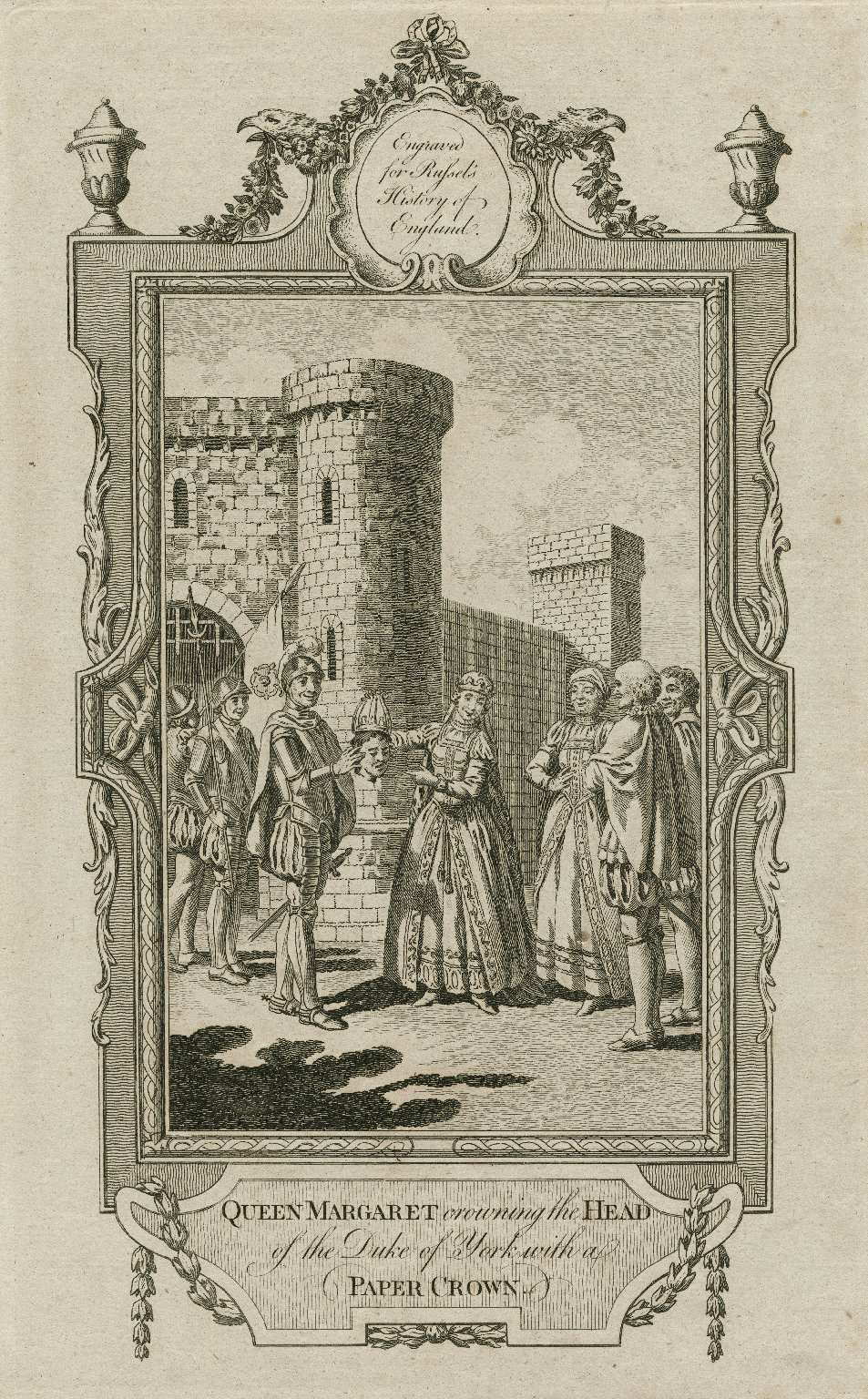 Queen Margaret crowning the head of the Duke of York with a paper crown [graphic].