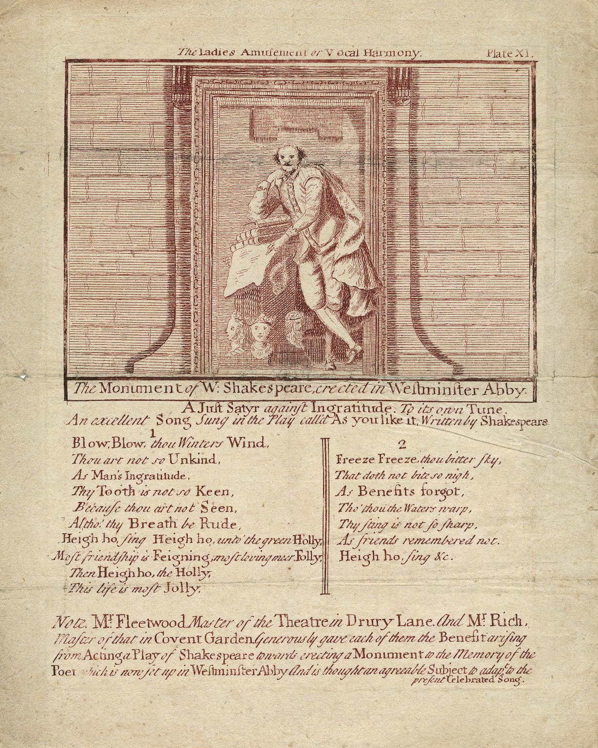 The monument of W. Shakespeare erected in Westminster Abby [printed below]: A just satyr against ingratitude ... an excellant song sung in the play As you like it ... Blow, blow, thou winters wind ... [etc.] [graphic].