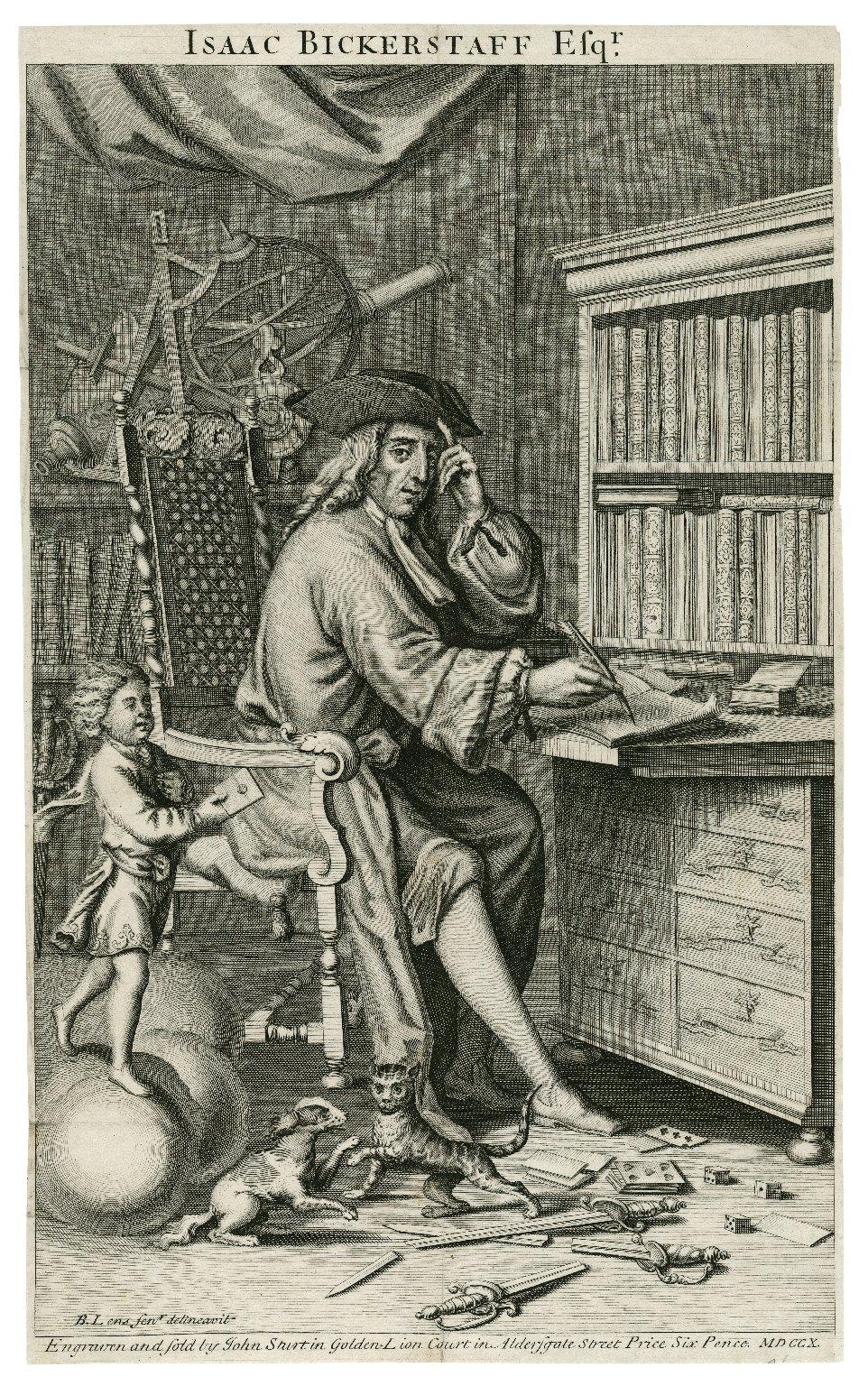 Isaac Bickerstaff Esqr. [graphic] / B. Lens senr., delineavit ; engraven by John Sturt.