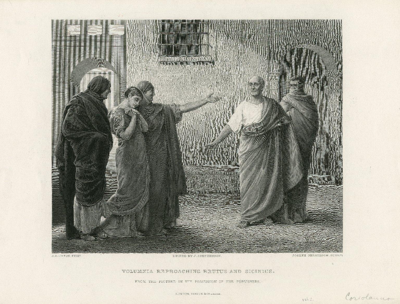 Volumnia reproaching Brutus and Sicinius [in Coriolanus, act IV, scene 2] [graphic] / J. D. Linton, pinxt. ; etched by J. Stephenson ; Joseph Greatbach, sculpt.