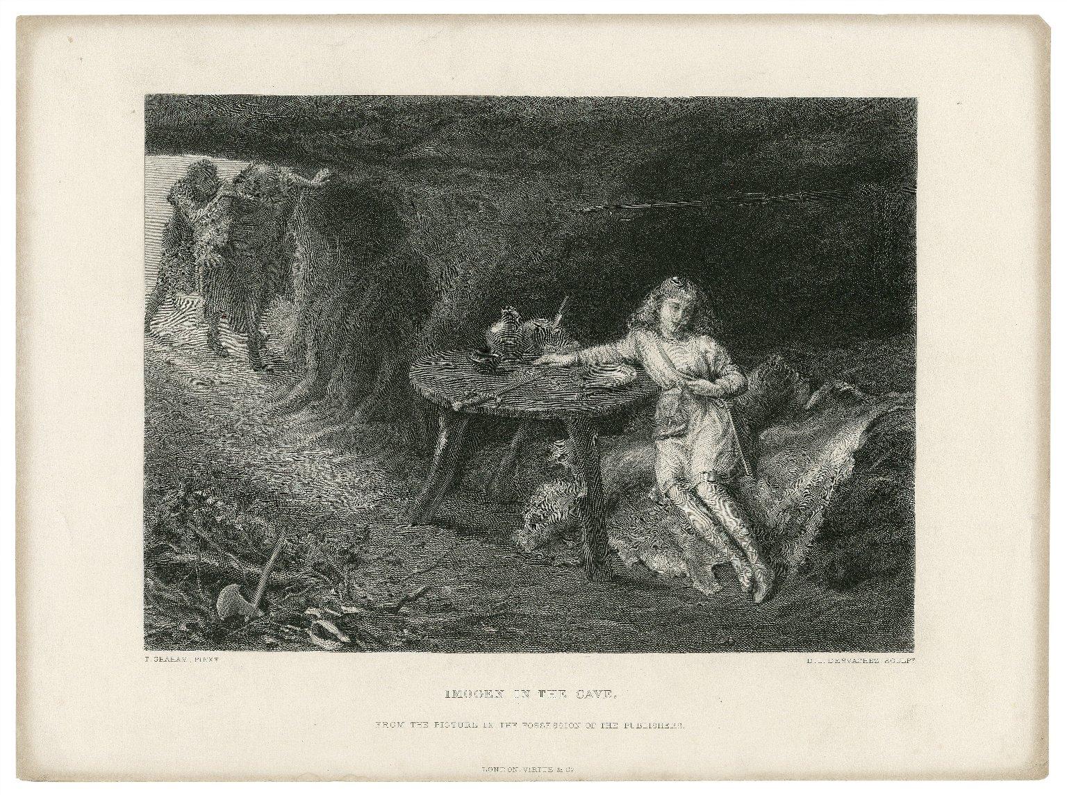 Imogen in the cave ... [Cymbeline, act III, scene 6] [graphic] / T. Graham, pinxt. ; D.I. Desvachez, sculpt.