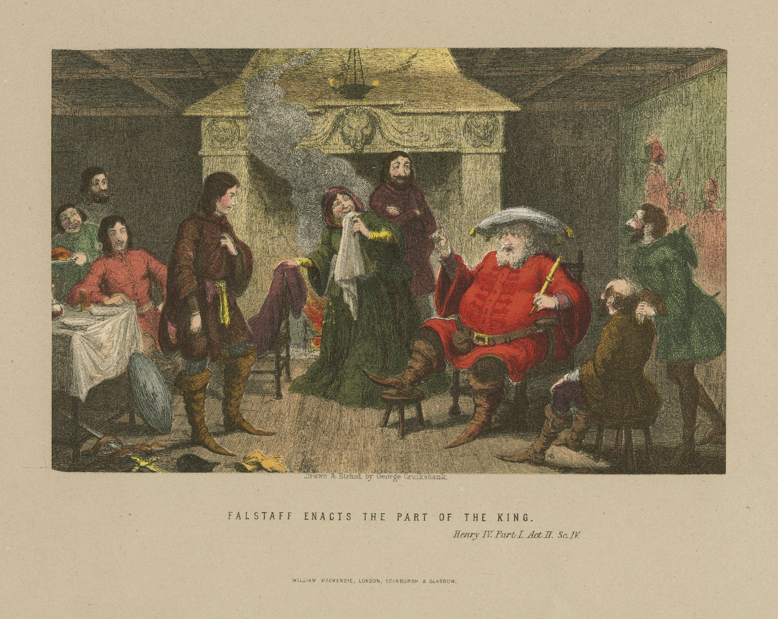 Falstaff enacts the part of the King, Henry IV, part I, act II, sc. IV [graphic] / drawn & etched by George Cruikshank.