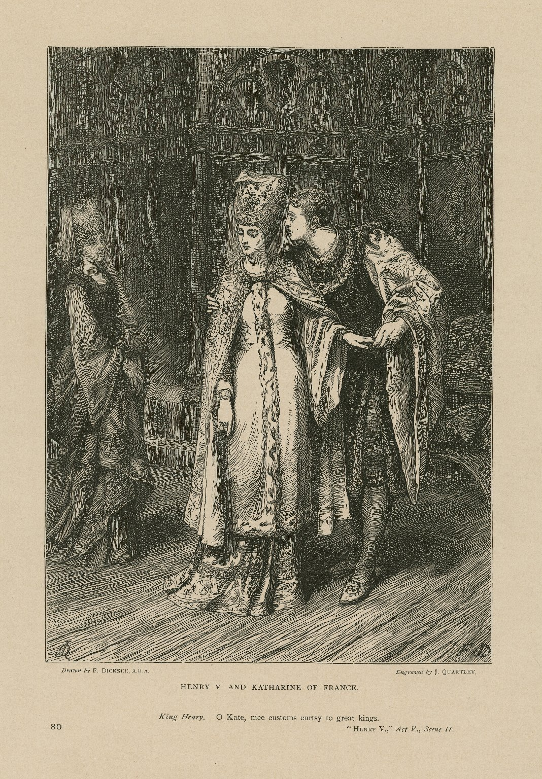 """Henry V and Katharine of France: """"O Kate, Nice customs curtsy to great kings"""": Henry V, act V, scene II [graphic] / drawn by F. Dicksee, A.R.A. ; engraved by J. Quartley."""