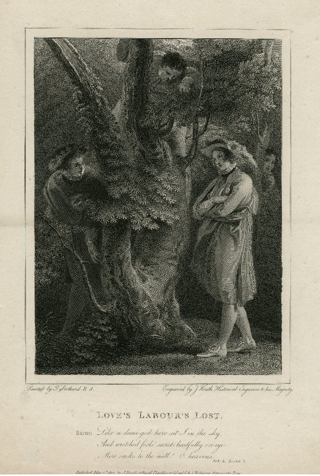 Love's labour's lost ... Like a demi-god here sit I in the sky, and wretched fools' secrets heedfully o'er-eye ... act 4, scene 3 [graphic] / painted by T. Stothard ; engraved by J. Heath, Historical Engraver to his Majesty.